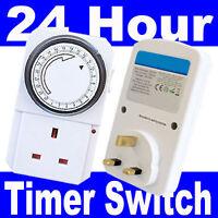 2 X  24 Hour Timer Programmable Mains Wall Home Socket Plug Switch Uk 3 Pin Plug