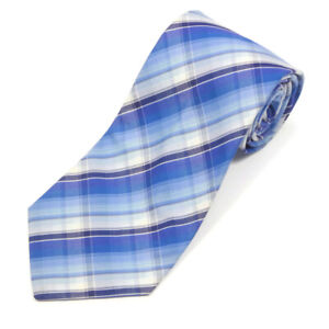 T.M. LEWIN Shades of Blue and White Plaid Cotton Neck Tie