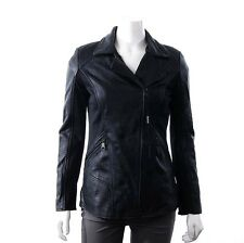 NWT Andrew Marc New York LARGE Womens Leather Moto Jacket Mixed Media Black NEW