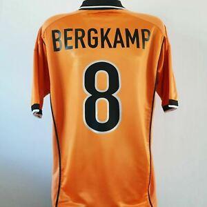 BERGKAMP 8 Holland Shirt - Large - 1998/2000 - Home Nike Jersey Netherlands