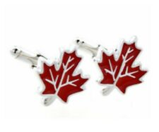 Gift Bag+ Quality Red Maple Leaf Cuff Links Silver TN Leave Cuff LInks Canada UK