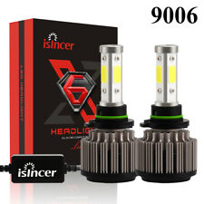 Pair 4-Sides LED headlight 9006 HB4 120W 12800LM HID 6000K White Bulbs iSINCER