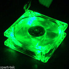 80mm 4-LED Light Neon Quite Clear PC Computer case Bearing Fan Cooling Green Mod