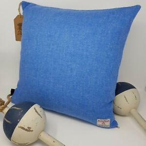 BLUE Plain HARRIS TWEED Wool Cushion Cover handmade genuine all sizes