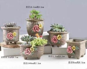5pcs Handprinted 3D Rose Cute Lovely Flower Pot Set Brand New Craft
