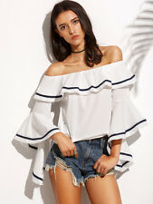 White Striped Trim Ruffle Off The Shoulder Women's Tunic Top Blouse One SIze