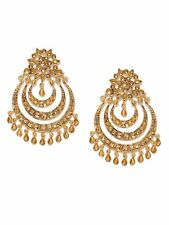 Bollywood Fashion Jewelry BAHUBALI Jhumka Jumki Dangle Gold Tone Earrings