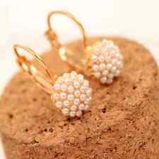white pearl gold Jewelry Women Lady Elegant Ear Stud Earrings Gift 1 pair hs