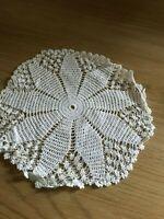 Vintage white cotton crochet doily / table mat 23 cm diam.