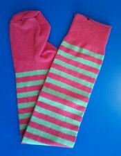 Christmas Socks - Red & Green Stripe Stockings - Lycra-Cotton stretchy - New