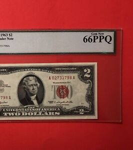 1963- $2 RED SEAL LEGAL TENDER NOTE,GRADED BY LEGACY GEM NEW 66 PPQ.