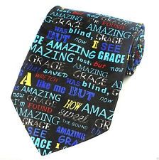 Amazing Grace Men's Neck Tie Religious Christian Hymn Choir Music Black Necktie