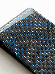 High Quality 100% Carbon Fibre Money Clip BLUE Weave Gloss Finish LARGE