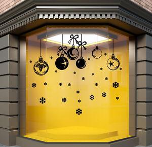 Noël Autocollants Fenêtre MAGASIN mural boules Décalque N132