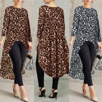 ZANZEA 8-24 Women Leopard Print Blouse Tee T Shirt High Low Long Flare Tunic Top