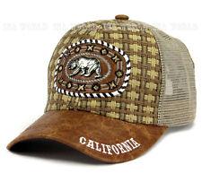 Straw hat California Bear Metal patched Mesh Trucker Snapback Baseball cap-Brown