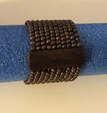 Dark Brown Handmade Beaded Stretch Wood Accent Wood Bead Multi-Strand Bracelet