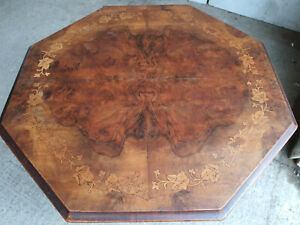 antique,victorian,walnut,octagonal,inlaid,dining,side,table,turned legs,seat 4