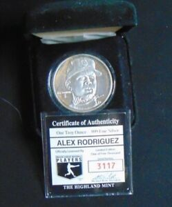 ALEX RODRIGUEZ SEATTLE MARINERS .999 FINE SILVER ROUND HIGHLAND MINT COIN 1/5000