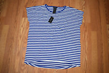 NWT Womens DESIGN HISTORY Blue White Striped Sequins Dolman S/S Shirt Blouse S