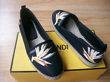 $450 Fendi Junia Shoes Bird of Paradise Print Espadrille Flats sz 40 US 10 NIB