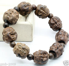 Fragrant Agarwood Carved Four Face Buddha Head Prayer Beads Elasticty Bracelet