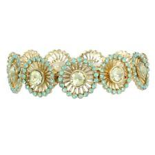 Bracelet in Floral Goldtone Filigree New Opalescent Mint Green Resin Stretch