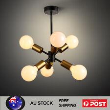 6-Light Sputnik Chandelier Industrial Ceiling Pendant Hang Lamp E27 Light Brass