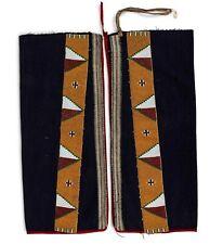 1890s PAIR OF NATIVE AMERICAN CREE / BLACKFEET INDIAN BEAD DECORATED LEGGINGS