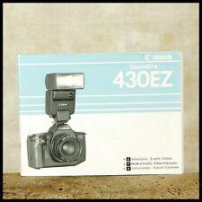 Canon EOS 430EZ Instruction Manual Flash 35mm AF Film SLR Speedlite