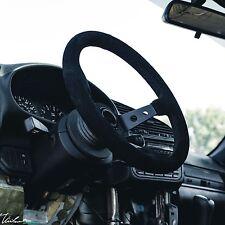 "STEERING WHEEL SUEDE *BLACK STITCH* VIILANTE TOURISMO 350mm 3.94"" SPOKE CONCAVE"