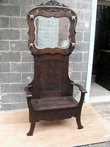 ANTIQUE OAK HALL SEAT hall tree Old FINISH AND HAT HOOKS-SELLING OUT Make Offer