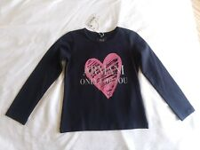 ARMANI Junior Girl's Long Sleeve Navy Blue Shirt (Size 6) Heart Design
