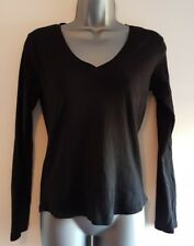 PAPAYA Size 12 Top Black Fitted Stretch Casual 100% Cotton Ladies Womens VGC