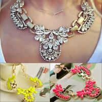 Luxury Flower Statement Necklace Chunky Bib Crystal Gems Pendant Chain Collar