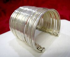 Unique Silver Plated Multi Band 40 Pc Cuff Bracelet Size 6