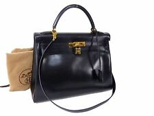100% Auth Hermes Kelly 32 2ways Shoulder Hand Bag Box Calf Leather Black G614