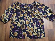 GLAM Sheer Blouse Fall Colors Purple Yellow Floral Blouse Shirt Top Size Med USA