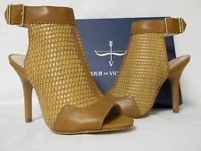 Pour La Victoire Size 8 M York Cigar Leather Open Toe Heels New Womens Shoes
