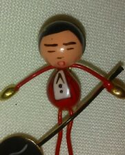 Musician Pin /Brooch Of An Asian Man Hand painted Vintage