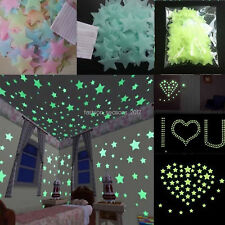 500 PCS Pack Glow In The Dark 3D Stars Moon Stickers Bedroom Wall Room Decor US