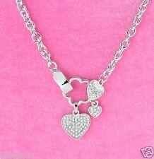Heart Love Elegant Pendant Necklace W Swarovski Crystal 3 Hearts New