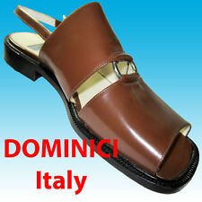 ITALIAN Sling Back Sandals Shoes 7 NEW $150 by DOMINICI Chrome Ring Detail Brown