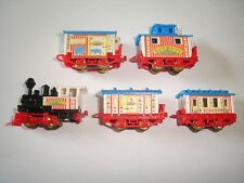 CIRCUS MODEL TRAIN WAGONS SET BLUE ROOFS 1998 1:160 KINDER SURPRISE MINIATURES