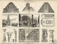 1883= ARCHITETTURA INDIA e AMERICA= Antica Stampa = Old ENGRAVING