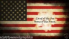 American Flag HOME OF THE FREE RV Trailer Wall Mural Decal Decals Graphics Art