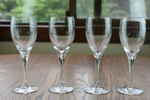 """4 Gorham Crystal Jolie 8 1/4"""" Water Goblet Glasses"""