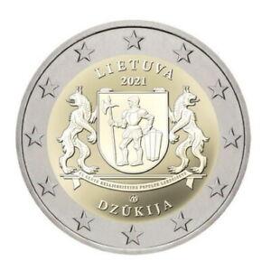 "LITUANIE PIECE 2 EURO COMMEMORATIVE 2021 "" ARMOIRIES REGION DZUKIJA"" NEUVE"