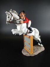 Springreiter mit Hinderniss Reiter Pferd Horse Figur Reitsport 24 cm