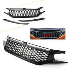 For Honda Civic 2016 2017 Front Upper Grille Grill Black High Quality ABS